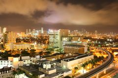 FAMOUS NIGHT SCENE - DOWNTOWN MIAMI Stock Photography