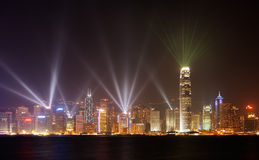 Famous night scenes of rays show in Hong Kong