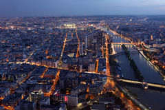 Famous Night view of Paris with the Seine river from the Eiffel Stock Image