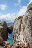 The famous norwegian rock; The Kjerag bolt Royalty Free Stock Photos