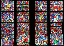 Famous Notre Dame cathedral stained glass Royalty Free Stock Photos