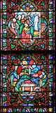 Famous Notre Dame cathedral stained glass Royalty Free Stock Photo