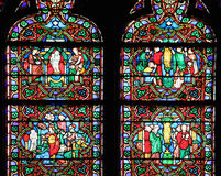 Famous Notre Dame cathedral stained glass Stock Photography