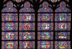 Famous Notre Dame cathedral stained glass Royalty Free Stock Images