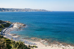Famous nudist beach in Faliraki. Top view of the beach in Rhodes. Stock Photos