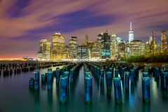 Famous NYC view at night with big city lights - New York City, U Stock Photography