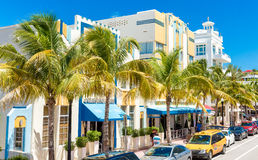 The famous Ocean Drive Avenue in Miami Beach, USA Royalty Free Stock Photos