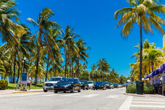 The famous Ocean Drive Avenue in Miami Beach, USA Royalty Free Stock Image