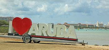 Famous Official ARUBA Sign Stock Image