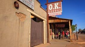 Famous OK Corral Sign in Tombstone, Arizona. Famous OK Corral sign in the historic wild west town of Tombstone, Arizona Royalty Free Stock Photos