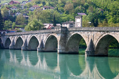 Famous old bridge on drina river Stock Images