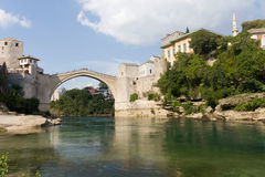 The Famous Old Bridge in Most. The Famous Old Bridge on the Neretva River in Mostar, Bosnia and Herzegovina Stock Photo