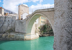 Famous Old Bridge in Mostar. On a sunny winter day Royalty Free Stock Photo