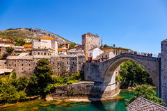 Famous Old Bridge in Mostar. The Old Bridge in Mostar with emerald river Neretva. Bosnia and Herzegovina Stock Images