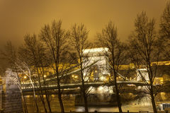 Famous old chain bridge in Budapest behind trees at night Stock Photography