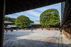 Famous old classic wooden shrine Meiji Shinto Temple in Shibuya Japan Royalty Free Stock Image
