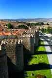 The famous old medieval city walls in Avila, Spain. View of part city wall in Avila, Spain royalty free stock photo