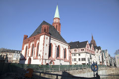 Famous old Nikolai Church in Frankfurt at the central roemer pla Stock Photos