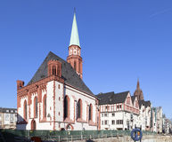 Famous old Nikolai Church in Frankfurt at the central roemer pla Stock Images