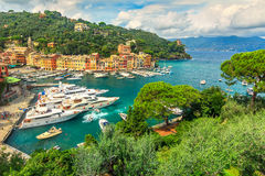 The famous old Portofino village and luxury yachts,Liguria,Italy Stock Photo