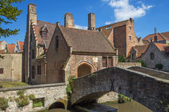 The famous old stone bridge in Bruges Stock Photo