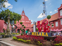 Famous old town of Melaka with I LOVE Melaka sign. The famous red buildings of Melaka Malaysia on a sunny day, featuring the I LOVE Melaka sign Royalty Free Stock Photo