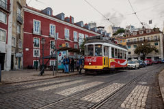 Famous old tram in Lissabon Royalty Free Stock Photos
