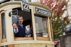 Famous old tram in Porto Stock Photo