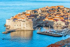 Famous old travel spot in Croatia, Dubrovnik scenery. Aerial view at famous cityscape of town Dubrovnik, beautiful scenery in Croatia, Mediterranean stock photography
