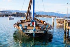 Famous old vintage Boat Neptune on the lake leman geneva switzerland stock images