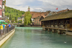 Famous old wooden  bridge . Switzerland. Royalty Free Stock Images