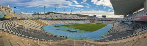Famous Olympic stadium in Barcelona of Spain royalty free stock photo