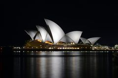 Sydney Opera House at night. The famous opera house as seen from the Harbour Bridge stock photos