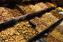 The famous oriental market. Dried nuts and spices in Istambul, Royalty Free Stock Photography