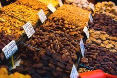 The famous oriental market. Typical dates in Istambul, Turkey.  Royalty Free Stock Photo
