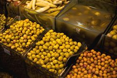 The famous oriental market. Typical olives in Istambul, Turkey Stock Images