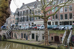 Famous Oudegracht canal in historic centre of Utrecht, the Nethe Stock Photo