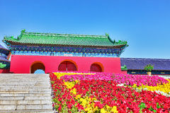 Famous Pagoda Temple near of Heaven in Beijing with flowers lawn Royalty Free Stock Images