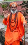 Famous painted sadhu (holy man) on the Durbar square Royalty Free Stock Photos