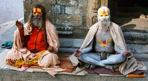 Famous painted sadhu (holy man) about Pashupatinath Stock Photos