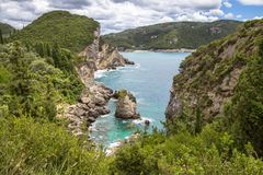 Paleokastritsa bay, Corfu Island, Greece. Famous Paleokastritsa bay on Corfu Island, Greece Stock Photo