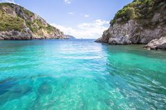 Paleokastritsa bay on Corfu, Greece. Famous Paleokastritsa bay on Corfu Island, Greece Stock Photos