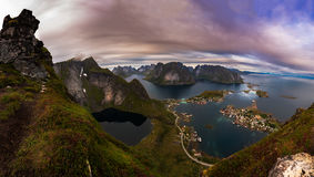 Famous Panorama from Reinebringen over Reine Town Royalty Free Stock Images