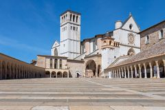 Famous Papal Basilica of St. Francis of Assisi Basilica Papale stock images