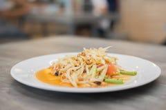 Famous papaya salad thai style. Famous papaya salad thai style background Royalty Free Stock Image