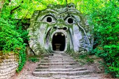 Mysterious park of Monsters of Bomarzo - landmarks of Italy royalty free stock photography