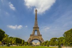 Eiffel Tower of Paris. The famous Paris Eiffel Tower on a sunny day in France Stock Photo