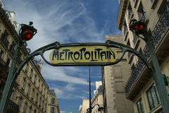 Famous Paris Metro Sign, France Royalty Free Stock Image