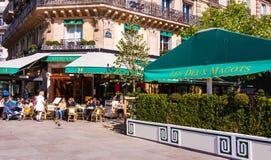 The famous parisian cafe Les Deux Magots, Paris, France. Royalty Free Stock Photo