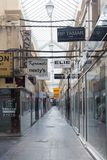 The famous parisian passage du Caire, France. Paris, France-March 24, 2018:The Passage du Caire is the oldest covered arcade in Paris. Situated in the Sentier Stock Images